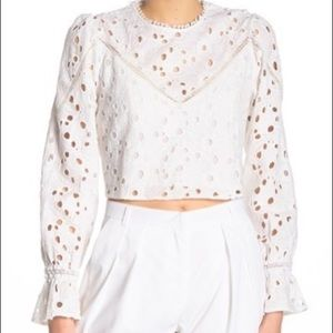 Walter Baker white cropped eyelet blouse shirt top